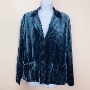 Chico's Crushed Velvet Teal Blue Blazer